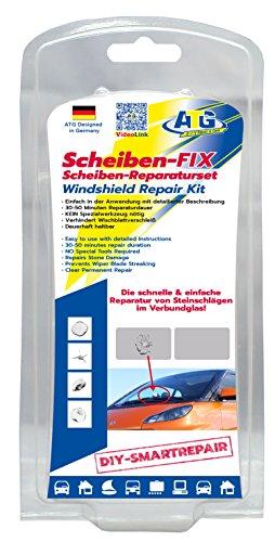 ATG Scheiben-FIX –Scheiben-Reparaturset zur Beseitigung von Rissen und Kratzern auf Windschutz-Scheiben – Steinschlag-Reparatur-Set 14 tlg. – DIY Smart-Repair Test