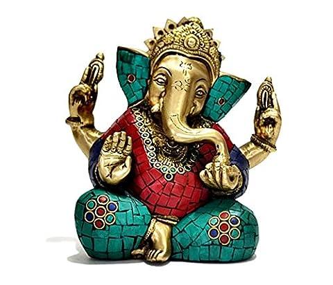Autorisation fait à la main en laiton Taille L Turquoise Taj Ganesh Statuette de Ganesh en Inde, en Asie.