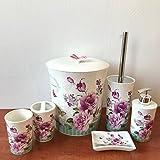 6 tlg WC Bad Garnitur Porzellan Badset Zahnputzbecher Rosen Verzierung 508P-01