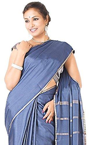 Sudarshan Crepe 100% Pure Mysore Traditional Silk Saree (SSSB17_Grey)
