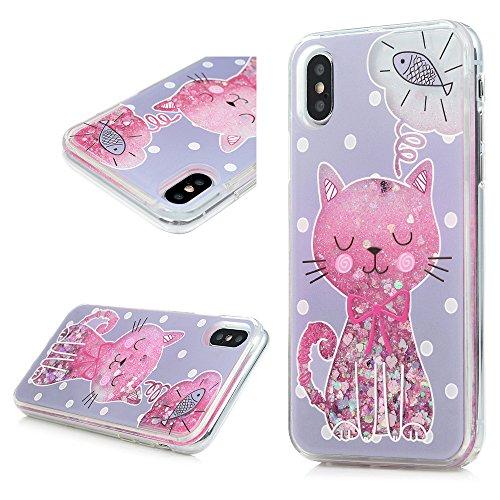 MAXFE.CO Schutzhülle Bumper Case für iPhone X TPU Rahmen PC Hardcase Plastik Tasche Handyhülle Backcover mit Katze Gemalt Muster Treibsand Design Katze
