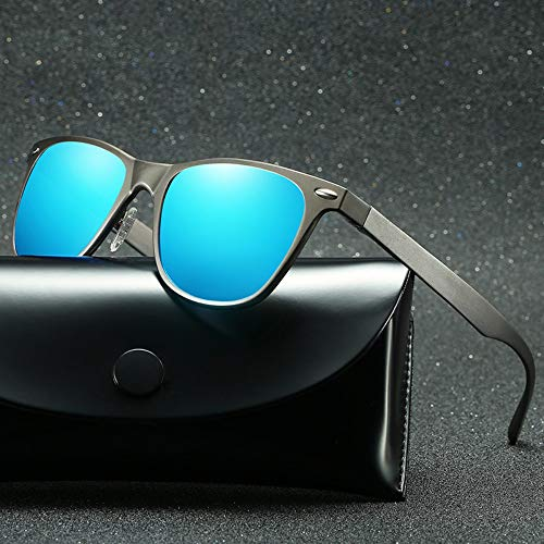 LLQ Retro-polarisierte Sonnenbrillen-Herren-Außensonnenbrillen aus Aluminium-Magnesium für Frauen, Pistolenrahmen mit Eisblau-Tabletten
