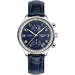 GUANQIN Fashion Formal Brand Women Analogue Waterproof Quartz Stainless Steel and Leather Calendar Chronograph Rhinestone Wrist Watch Simple Design Silver Blue