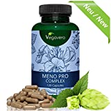 Suplemento Menopausia | Aceite de Onagra + Manzanilla + Lúpulo + Salvia + Melisa | Sofocos + Sudores + Antiinflamatorio + Dolor de Cabeza | 120 Cápsulas | Sin Aditivos | Meno Pro Complex Vegavero