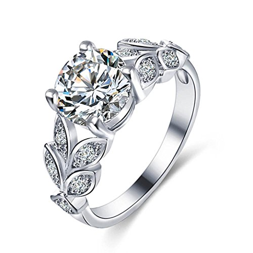 KEERADS Ring, 925 Silver Fashion Luxury Floral Diamond Crystal Rings Fashion Woman Jewelry Gift (R 1/2, Silver)