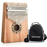 Yubbaex Kalimba, 17 teclas pulgar piano mbira piano portátil instrumentos musicales música regalo cuerpo de caoba con caja (marrón)