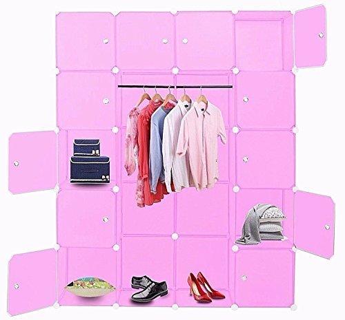 CHM Sehr praktisches Steckregal, Kleiderschrank mit Kleiderstange in pink. 1000 Liter Fassungsvermögen beliebig erweiterbar ! Maße: 181 cm...