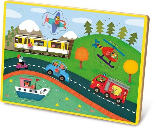 Vilac 30x 21x 2cm Transportiert Musical Peg Puzzle (6-teilig)