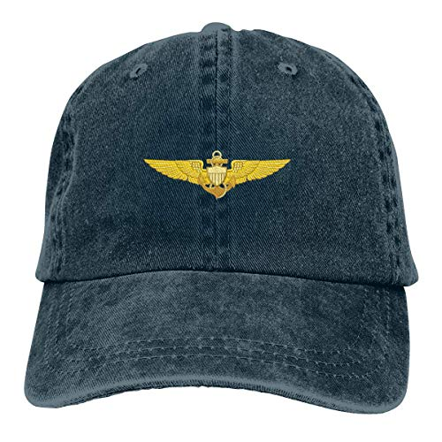 US Navy Pilot Wings Mens Baumwolle verstellbar Washed Twill Baseball Cap Hut