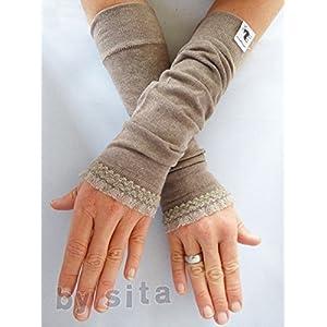 Armstulpen, lang - hellbraun mit toller, elastischer Rüsche