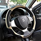 #2: OSHOTTO 100% Genuine Leather Car Steering Cover Black and Beige Colour for Maruti Suzuki Ignis