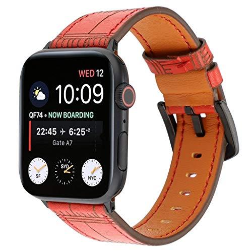 WAOTIER für Apple Watch 38mm Armband 40mm Armband Leder Armband Retro Bambus Muster Armband für Apple Watch Series 4/3/2/1 mit Edelstahl Verschluss Armband für iWatch 38mm 40mm (Rot)