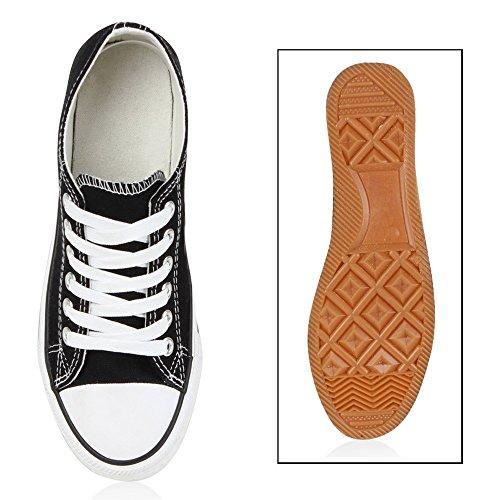 Damen Sneakers Spitze | Denim Sportschuhe Strass | Stoffschuhe Blumen Prints | Textil Schuhe | Sneaker Low Schwarz