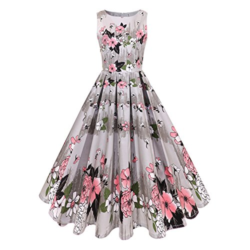 GAESHOW Women's Vintage 1950's Floral Spring Garden Picnic Dress Party Cocktail Dress (Rosa, Small) (Boatneck Kleid Womens)