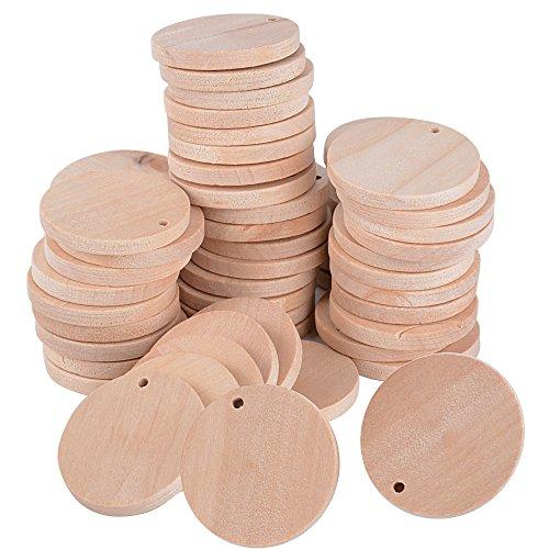 (D: 3,5cm) 100 Stück Holzscheiben Baumscheiben Holzplättchen Holz Platten Basteln Natur Holz Scheibe Zum Basteln Bemalen für DIY Basteln Malen DIY Handwerk Dekoration (Rund Form)