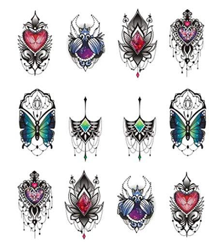 EROSPA Nailart Nail-Tattoo Henna Motiv - Nagel Sticker - Aufkleber - 12 Motive - Selbstklebend