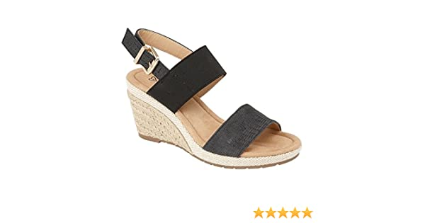 0c0b9c7e471cdd Shumo ORANGE GROVE Ladies Elasticated Wedge Heel Sandals Black UK 8   Amazon.co.uk  Shoes   Bags