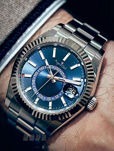 ZCCZJBXS Luxury Mens Black Automatic Watch Chronometer Dual Time Zone Annual Calendar Stainless Steel Watches Silver Blue AAA+ Blue