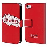 Head Case Designs Officiel Liverpool Football Club Europe Six Fois 4 2019 Champions Coque en Cuir PU à Portefeuille Compatible avec iPhone 4 / iPhone 4S