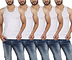 Wyatt Mens Cotton White vest (Pack of 5)