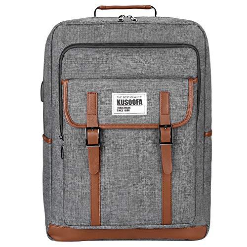 Laptop Rucksack,KUSOOFA Business Rucksack Wasserdicht Notebook Rucksack 15,6 Zoll Schulrucksack mit USB-Ladeanschluss,Vielen Taschen und Fächern Damen Herren Unisex Backpack (Grau)