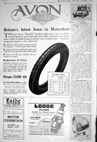 La casetta 1922 dei pneumatici dell'automobile di avon durolith tappa rover crossley di vetro triplex