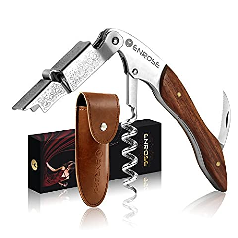 ENROSE Tire-Bouchon Professionnel & Décapsuleur - Couteaux de Sommelier - Design élégant - Ouvre-Foil Cutter Bouteille avec Garantie de