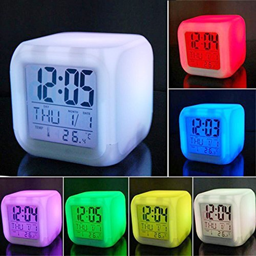 Gopani Digital Alarm Thermometer Night Glowing Cube 7 Colors Clock LED Change LCD  available at amazon for Rs.450
