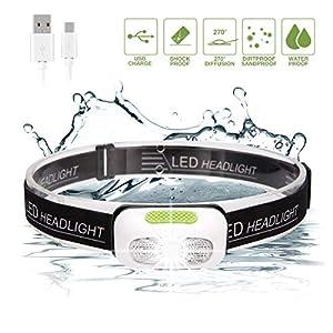 Linterna Frontal LED, SGODDE USB Recargable Súper Brillante Luz para Cabeza 5 Modos Impermeable Mini Peso Ligero para Acampar, Montar en Bicicleta de Montaña, Pescar, Bodegas, Acampar (modo regular)