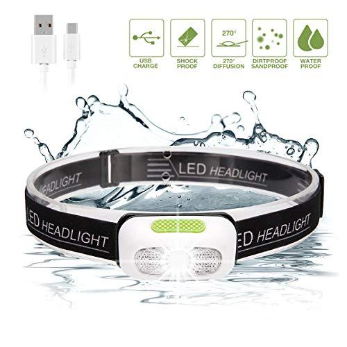 Lampada da Testa LED, SGODDE USB Ricaricabile Super Bright Head Light 5 Modalità Impermeabile Mini L (Modalità normale)