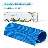 Fansteck Placa Base para construcción(25*25cm), Base para Construir Lego, Silicona Autoadhesivo, fácil de Cortar, aplicale a Lego Classic. Compatible con Todas Grandes Marcas. Pequeño Punto