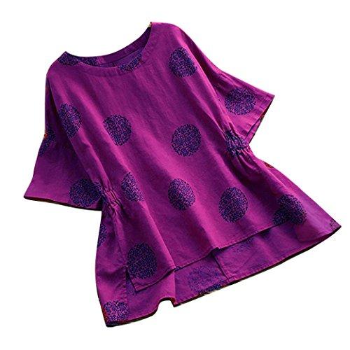 Kobay Women T-Shirt Tops, Ladies' Summer Plus Size Dot Print Loose Cotton Short Sleeved Vintage Blouse