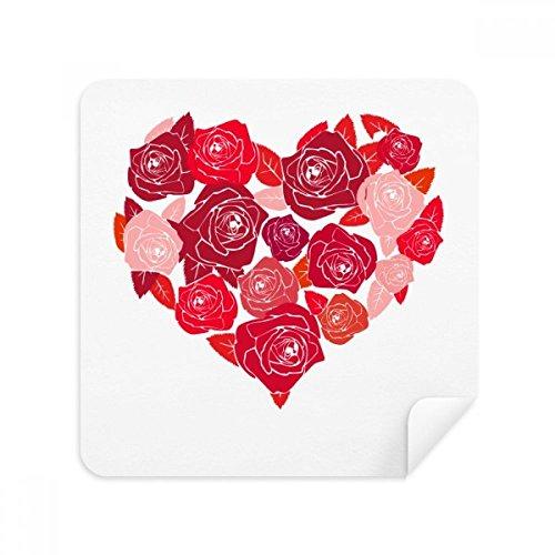 DIYthinker Rosa Herz-geformte Rosen Valentinstag-Glas-Putztuch Telefon Screen Cleaner Suede Fabric 2Pcs