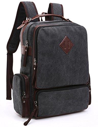 Aidonger Unisex Vintage Canvas und Leder Schulrucksack Daypack (Kaffee) Schwarz
