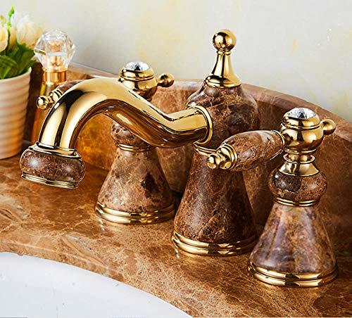 CZOOR All-Kupfer antiken europäischen Drei-Loch-Waschtischmischer Gold Jade Badezimmerschrank Badewanne heißes und kaltes Wasser Wasserhahn dreiteilig A655