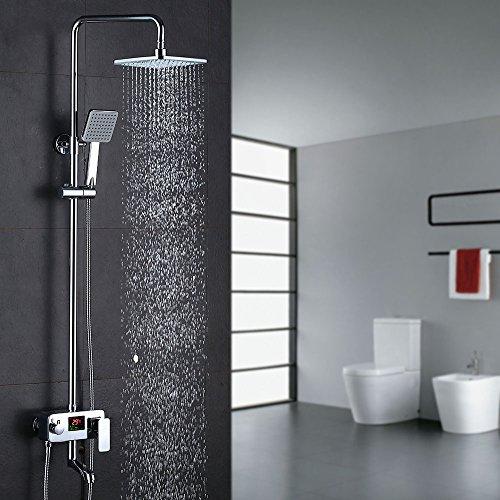 Preisvergleich Produktbild Homelody Duschsystem Drei-Funktionen-Duscharmatur mit LCD Wassertemperatur-Displayanzeige,Duschset mit Regendusche Handbrause Rainshower und Armatur für Duschen