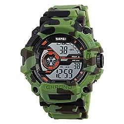 Skmei Special Digital Display Sports watch 3ATM waterproof Stainless Steel Back -1233 Army