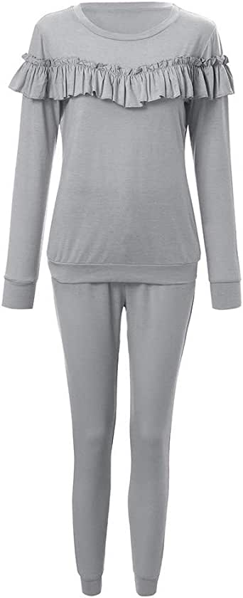 Homebaby Tuta da Ginnastica Donna Elegante 2Pcs Tute Felpa Pantaloni Set Ragazze Giacca Pullover Tops Casual Tuta Training Yoga Sportivo Sportswear Tracksuit
