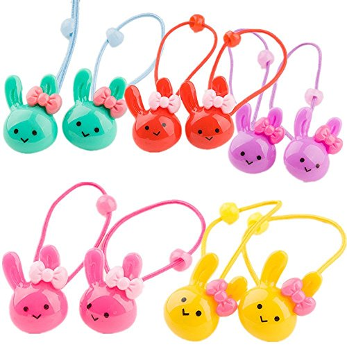 cuhair(TM) fashion 10pcs (2pcs/color) cute rabbit head design girl baby kids elastic hair ponytail holders hair tie bands rubber rope acessories