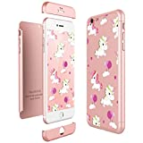 CE-Link Funda iPhone 6 Plus/iPhone 6s Plus, Carcasa Fundas para iPhone 6 Plus/iPhone 6s Plus 3 en 1 Desmontable Ultra-Delgado Anti-Arañazos Case Protectora Unicorns Cartoon - Oro Rosa