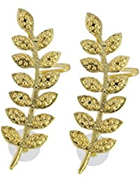 The Jewelbox Floral Leaf 18K Antique Gold Plated Ear Cuff Pair For Women