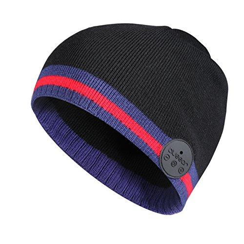Bluetooth Beanie Mütze Waschbare Freizeit Wireless Baggy Hats Kopfhörer mit akustischem Stereolautsprecher und Freisprecher-Telefonbeantwortung (H1N Black RED)