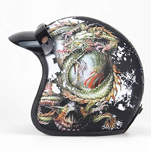 Berrd Casco moto Retro Open Face Casco moto retrò da corsa con maschera Maschera LW nero opaco S