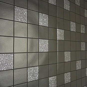Holden Decor Tiling On A Roll Kitchen U0026 Bathroom Heavy Weight Vinyl  Wallpaper Granite Black 89130