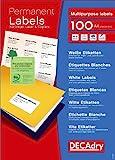 Decadry - Etichette adesive permanenti, confezione da 2.100, colore: Bianco