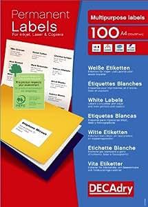 Apli DLW1730 Boîte de 6500 Etiquettes multi-usage A4 38,1 x 21,2 mm Blanc