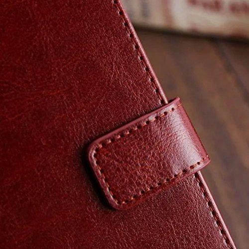 Wkae Case Cover Sansung J7 Fall feste Folio magnetische Design Flip Brieftasche Stil Fall Farbmuster PU-Leder-Abdeckung Standup-Abdeckungsfall für Sansung J7 ( Color : Red , Size : Sansung J7 ) Brown