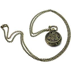 Vintage Steampunk Sunflower Carved Quartz Pocket Watch Pendant Chain Necklace