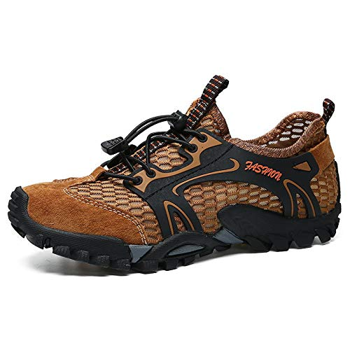HOTSTREE 2019 Summer Genuine Leather Mesh Sneakers Men Shoes Casual Outdoor Breathable Wading Shoes Comfortable Male Footwear Brown 44