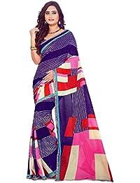 The Wardrobe Women's Georgette Saree(Wardrobe001_Multi-Coloured_Free Size)